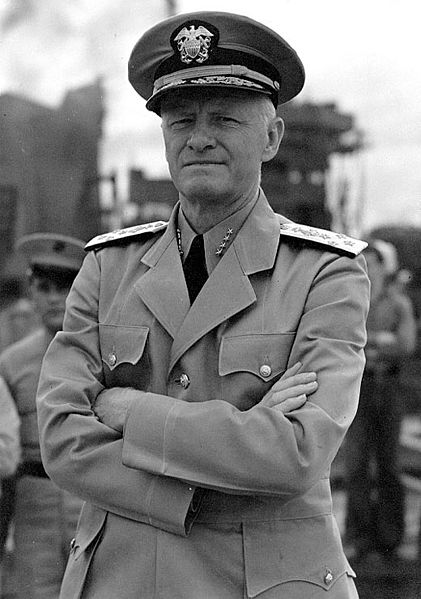 Admiral Chester Nimitz WWII fleet Admiral black white copy in uniform