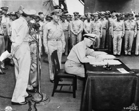Japanese surrender on the USS Missouri Admiral Chester Nimitz WWII